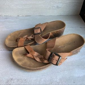 A. Gianetti leather wedge sandals clean